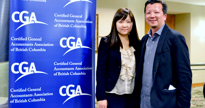 Michelle Li, CGA and Edwin Fok, CGA of Creation Technologies. Photo credit: Lawrence Chau, Fraser Heights Secondary.