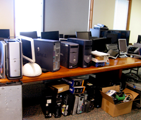 Some of the IT equipment donated to Martha's Village & Kitchen