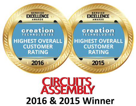 Creation Technologies is the Repeat Winner of Circuits Assembly's 'Highest Overall Customer Rating' at the 2016 Service Excellence Awards. Creation captured this honor in 2015 and now 2016.