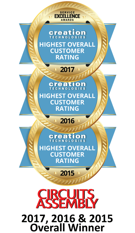 For third straight year, Creation Technologies is 2017 Winner of 'Overall Highest Customer Rating' Service Excellence Award from Circuits Assembly