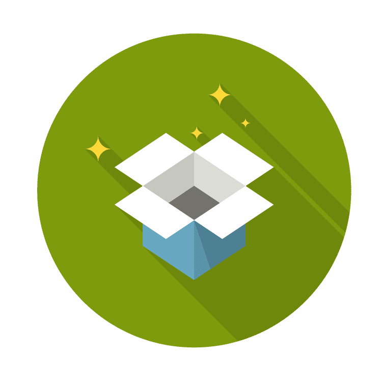 icon of open box and stars