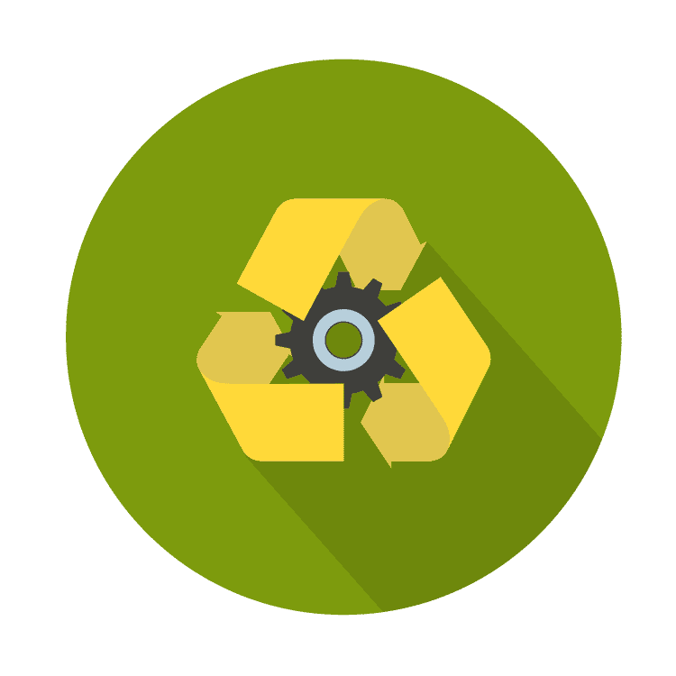gear icon with recycling symbol