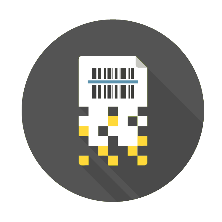 icon of paper becoming digital pixels