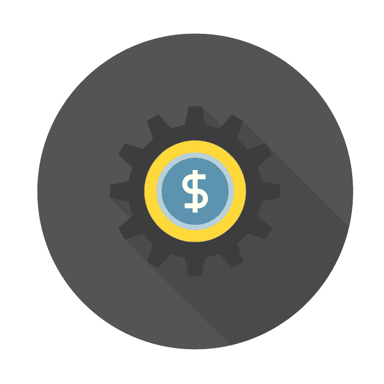icon of gear with dollar sign
