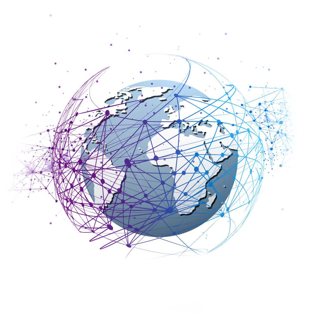 vector globe with web of network