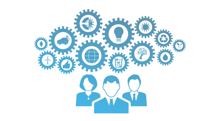 icon of office professionals with gears of different sustainability icons
