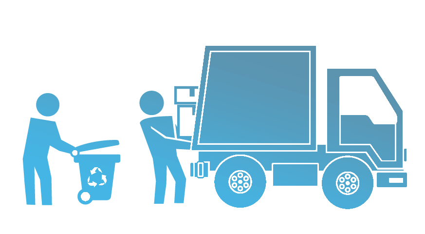 icon of loading truck with recycling containers