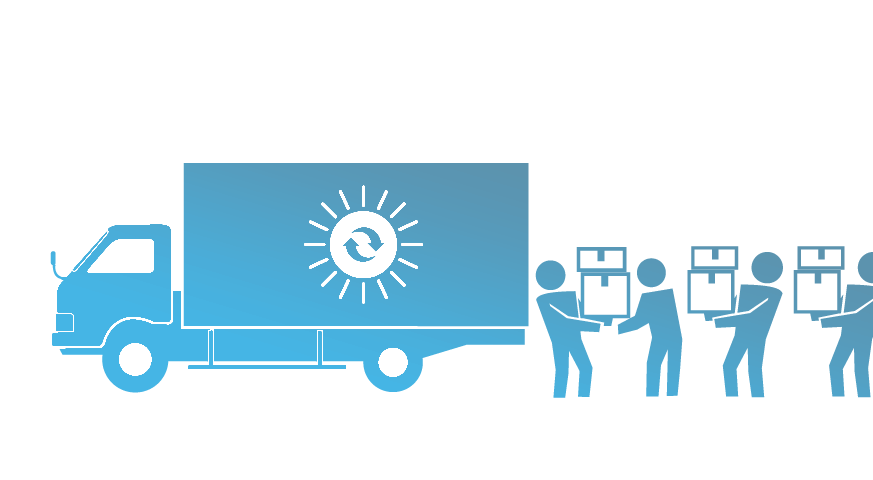 icon of loading truck with sun icon and cycle symbol