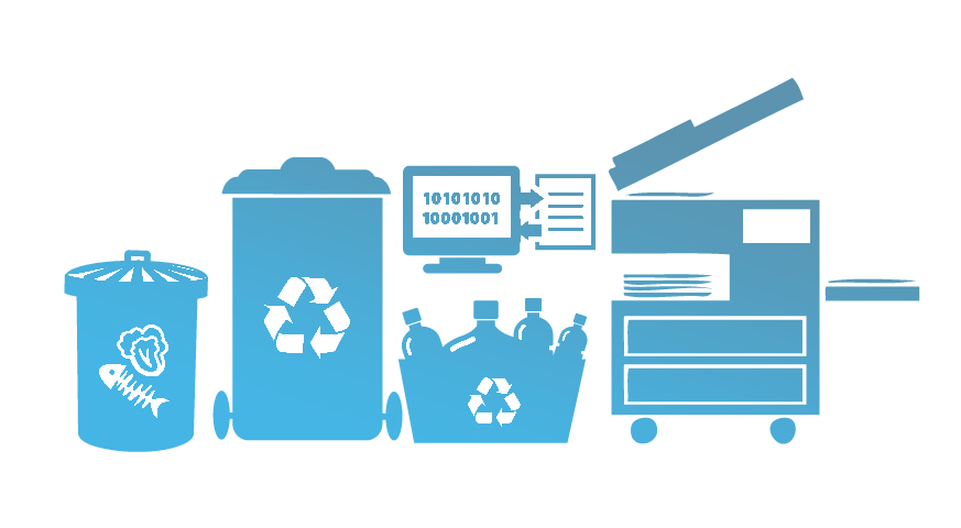 icon of trash and recycling containers
