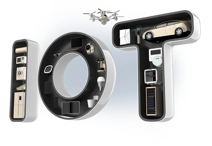 electronics inside the letters IOT