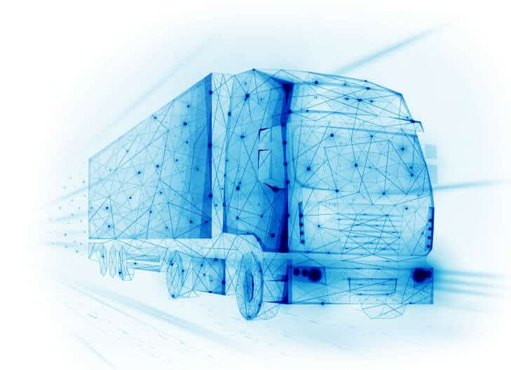 blue vector of semi truck ems solutions for transportation