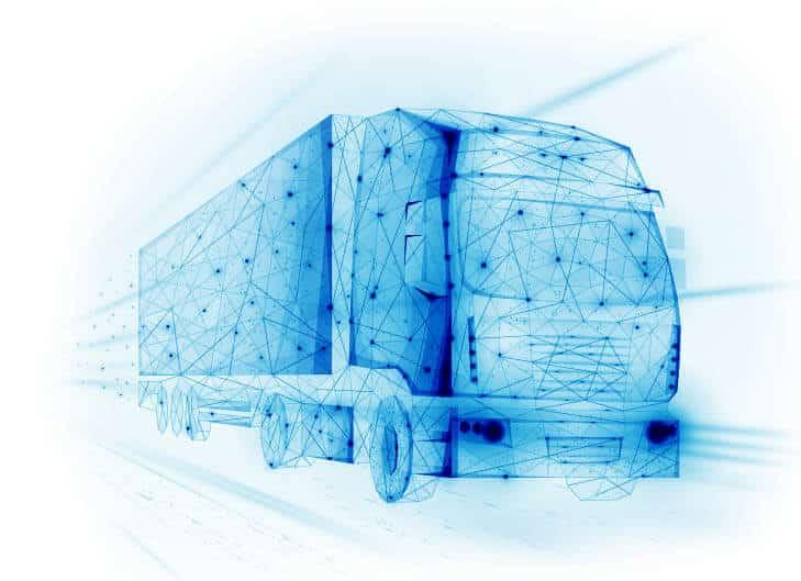 blue vector of semi truck ems solutions for transportation